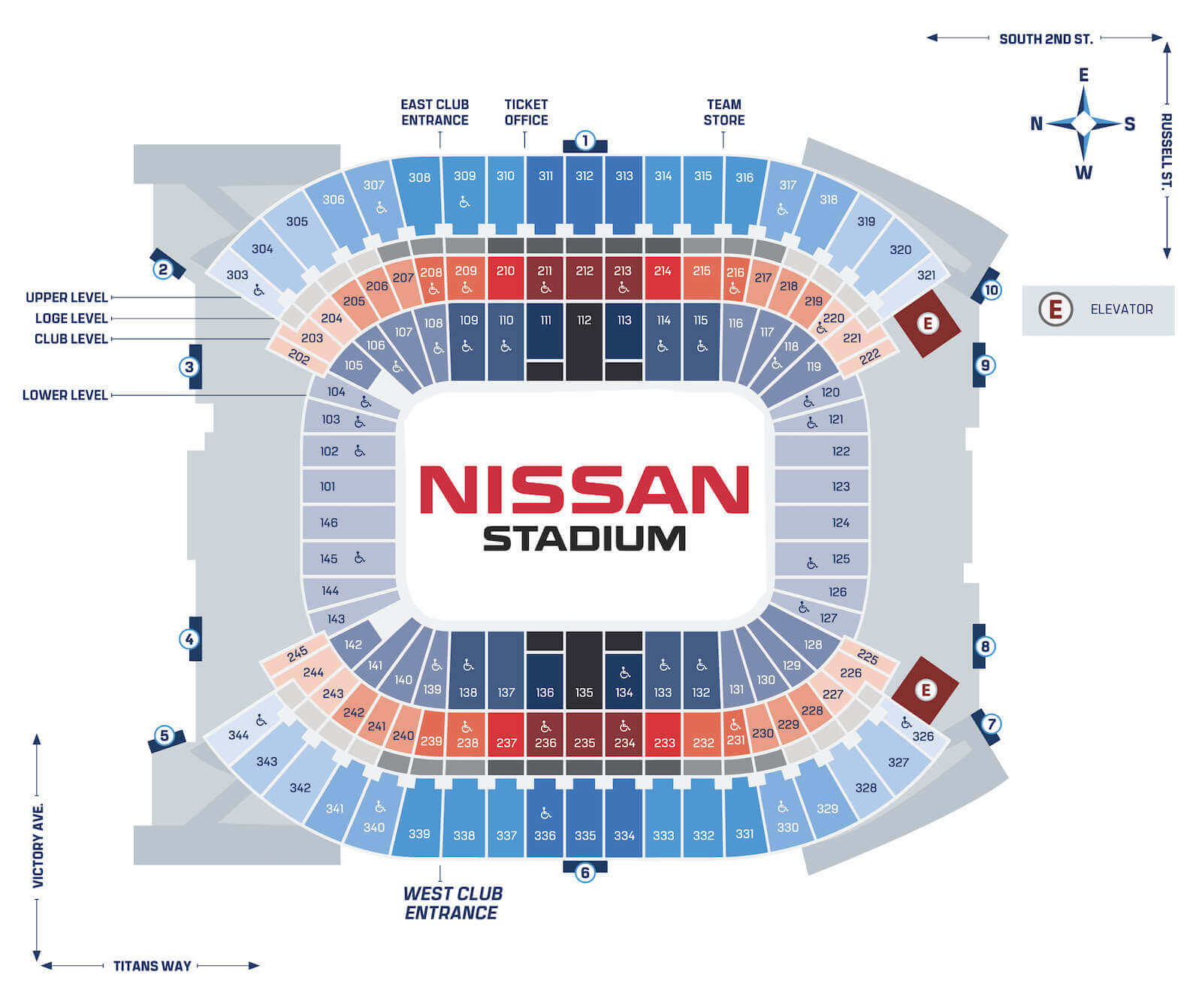 Nissan Stadium Seating Map