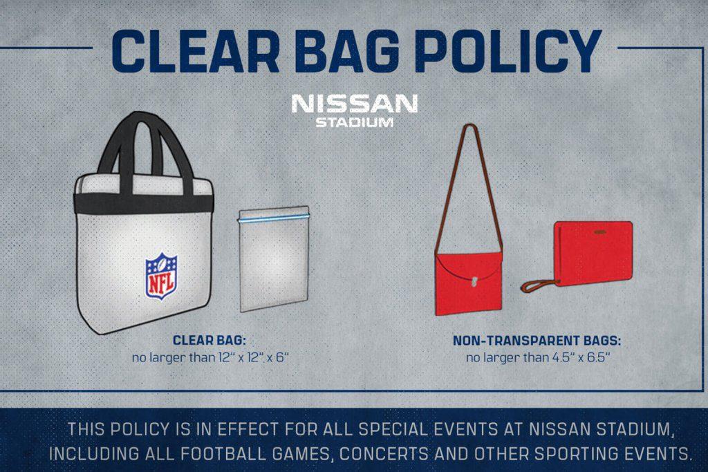 stadium policies clear bag policy - Nissan Stadium